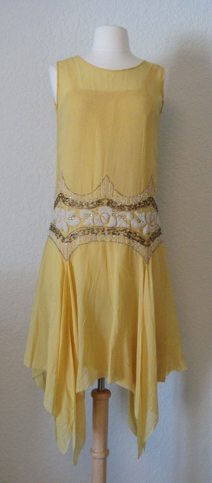 Yellow drop waist women dress gatsby style