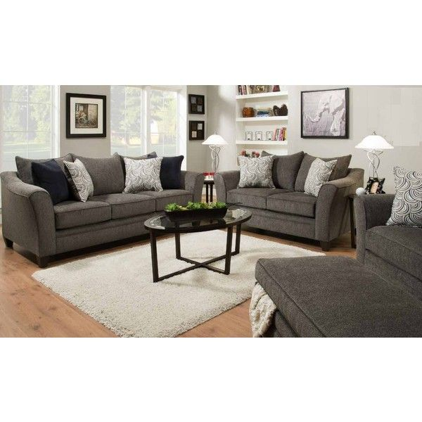 2 Pc Albany Collection Pewter Chenille Fabric Upholstered Sofa And... ($305)