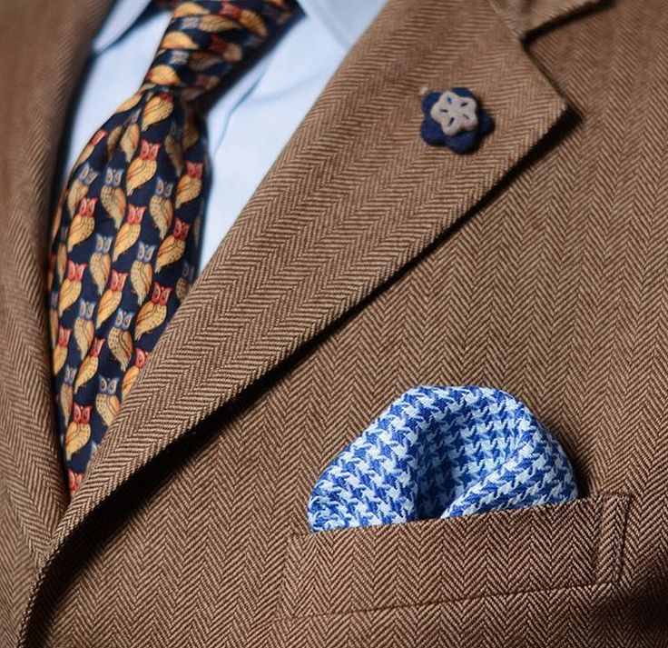 #cotton and #linen #blue #pocketsquare #owl #tie and #felt #flower #lapelpin with #tweed #jacket   #styleadvice #tiegame #dapperman #favoritethings #valentines #flovers #style  #etsygifts