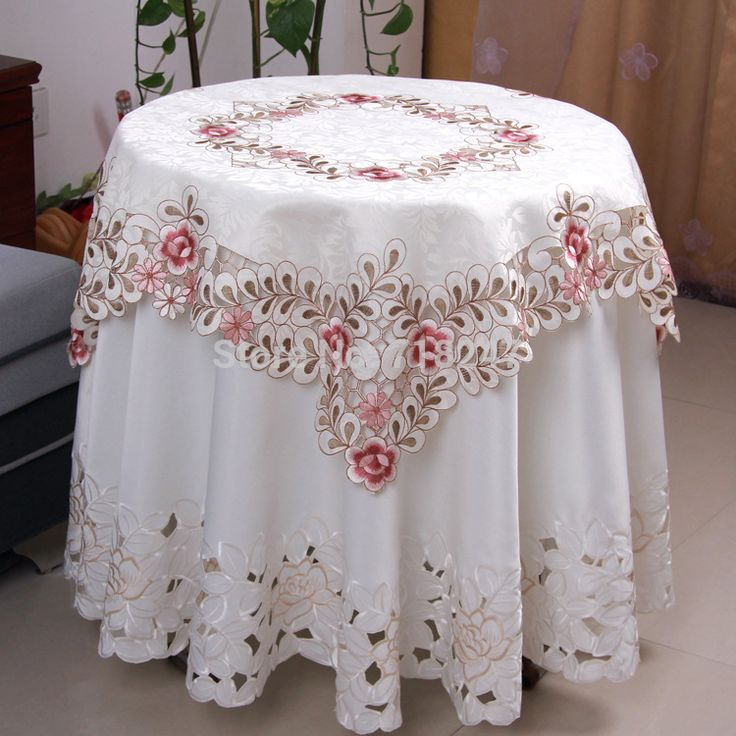 Hot Elegant Polyester Satin Jacquard Embroidery Floral Tablecloths Handmade Embroidered Table Linen Cloth Cover Overlays YYM809-in Table Cloth from Home & Garden on Aliexpress.com | Alibaba Group