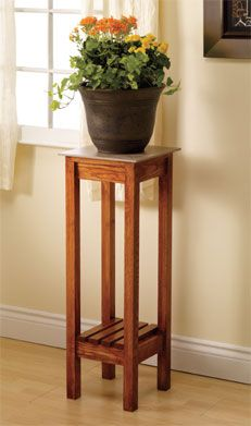 DIY instructions: this would be a perfect stand for a cascade. Easily change the height to suit your tree. Express personality w/ wood types, textures & stains