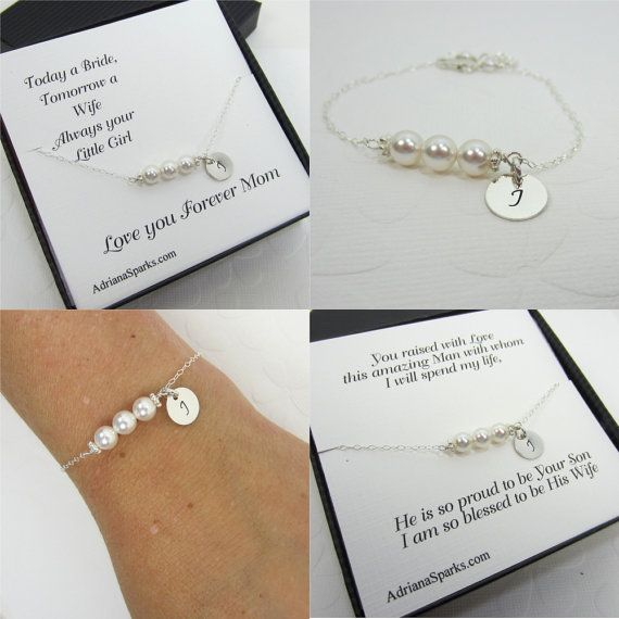 Mother of the Bride and Groom Personalized Bracelet with Card, Set of 2 Mom Thank you card, , bridal party bracelet, bridal jewelry