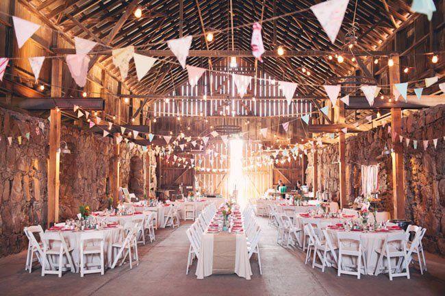 barn wedding... I like the table set up, lights and bunting!