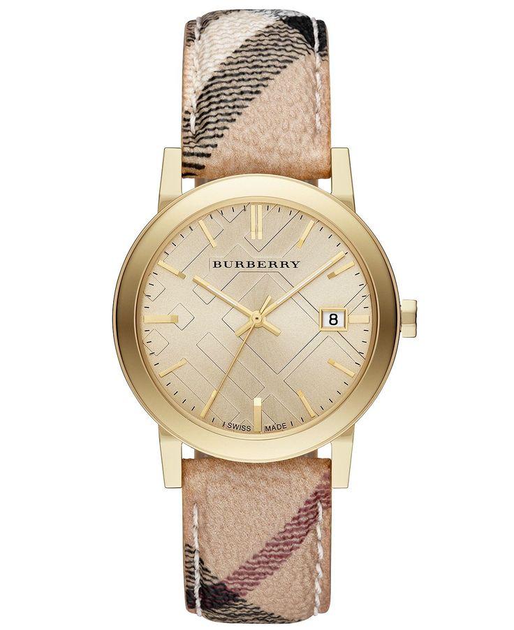 Burberry Watch, Womens Swiss Haymarket Strap 38mm BU9026 - Burberry - Jewelry & Watches - Macys