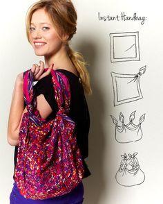 En quelques noeuds, on transforme son foulard préféré en un sac à main des plus bohème!
