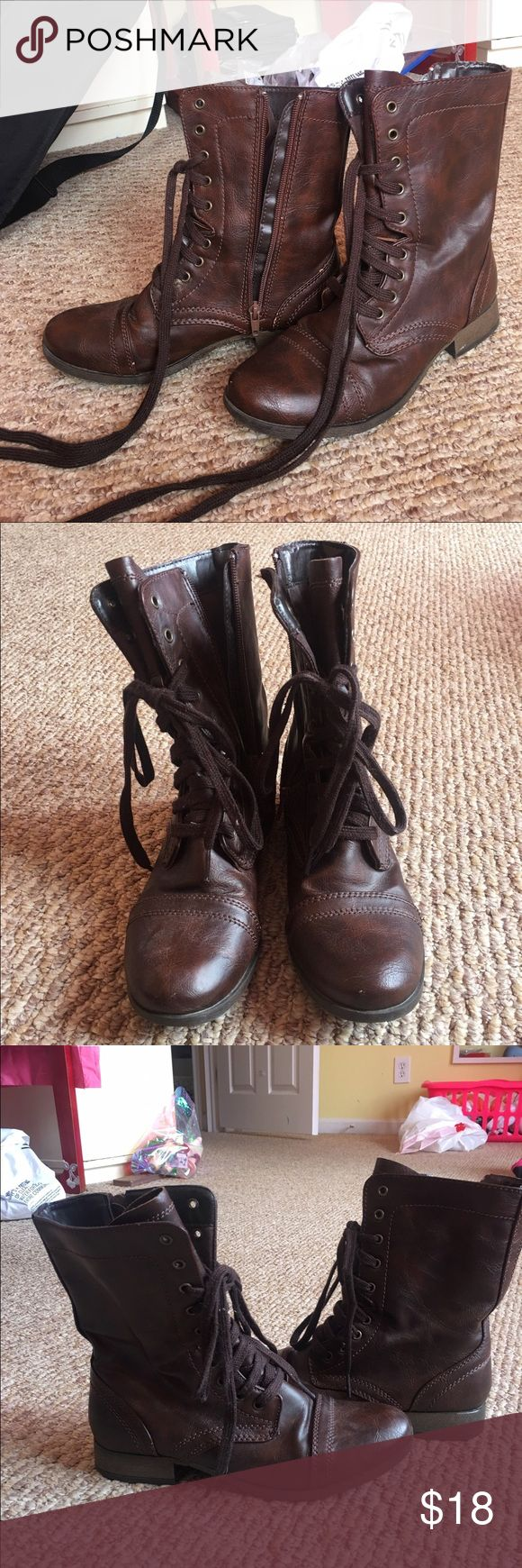 """Candies"" Brown Combat Boots ""Candies"" from Kohl's brown combat boots women's size 8! Worn twice & in amazing LIKE NEW condition!! just been sitting in my closet! Zip up and have laces. Accepting all reasonable offers! Candie's Shoes Combat & Moto Boots"