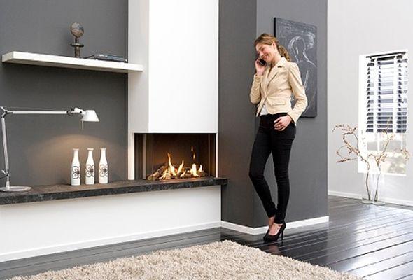 Modern Frameless 2-sided built-in fire left or right corner