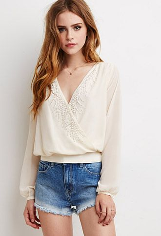 Beaded Surplice Front Blouse | Forever 21 | #thelatest