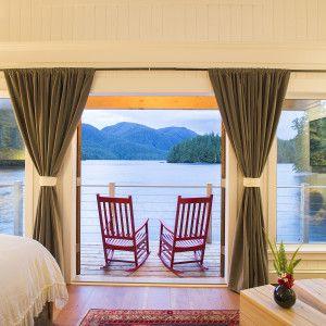 Ocean-view cabins, Nimmo Bay Resort, BC, Canada