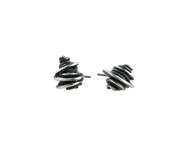 Chaos Titanium Stud Earrings, 100% Hypoallergenic, Sensitive ear / Boucles d'oreille chaos en titane pur noir - Puce - 100% Hypoallergène