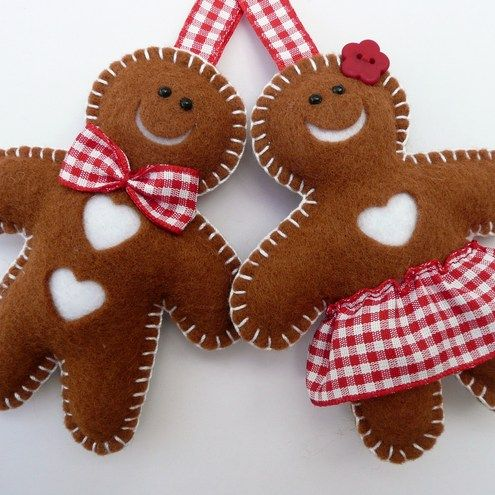Gingerbread Men Crafts...Use a gingerbread cookie cutter as a templete to cut felt or material, stuff, sew around edges, use ribbon for bow tie & skirt, a flower button for the girl and small beads for eyes.