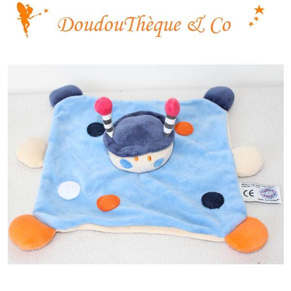 Doudou plat coccinelle DODO D'AMOUR bleu pois MGM 23 cm