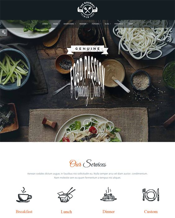 This restaurant theme for WordPress features WooCommerce and WPML support, a responsive layout, a drag and drop page builder, more than 500 Google Fonts, unlimited colors, 18 blog variations, a PHP contact form, and more.