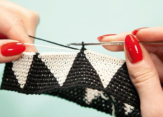How to make: a modern crochet evening bag        This stylish triangle pattern is formed using a technique that changes colours regularly on each row. You'll need to set aside several evenings for this project, but once you get the gist of it the work will go smoothly  It is taken