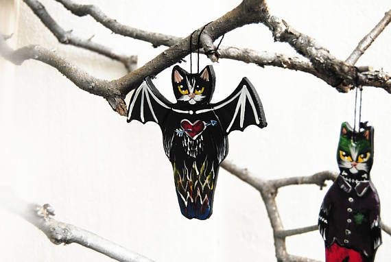 Black cat ornament Folk art cat ceramic figurine Halloween