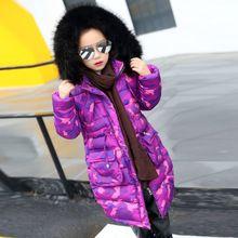 Dikke paars camouflage winter jas voor meisjes lange outwears katoen gevoerde bont hooded winterjas meisjes 2016 nieuwjaar kleding(China (Mainland))