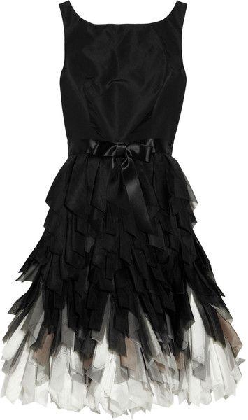Oscar De La Renta Gray Fringedskirt Silktaffeta Dress