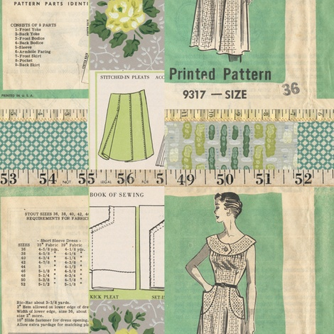 This would be so cute for curtains in a sewing room.  (Home Sewn fabric by jodielee on Spoonflower - custom fabric)