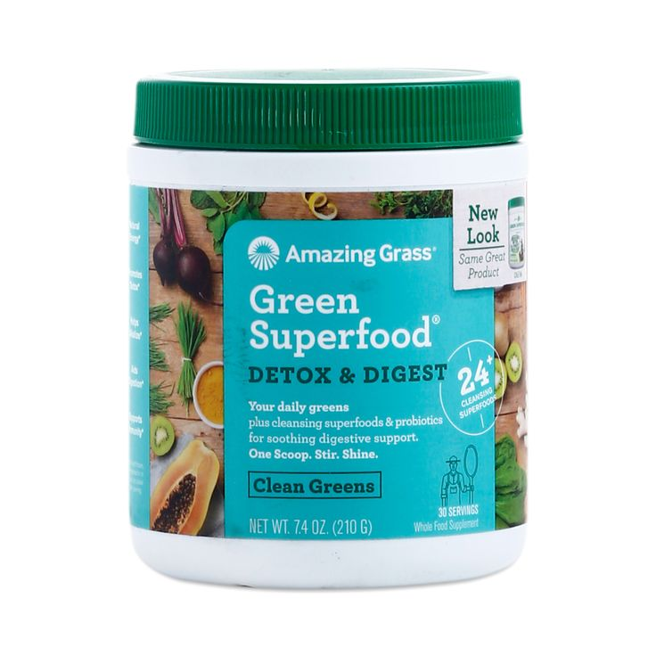 Promote good digestion with Amazing Grass Green Superfood Detox and Digest powder, which contains alkalizing greens and probiotics.