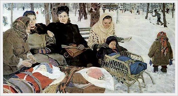 Яблонская Татьяна Ниловна (Россия-Украина, 1917-2005)  «В парке» 1950
