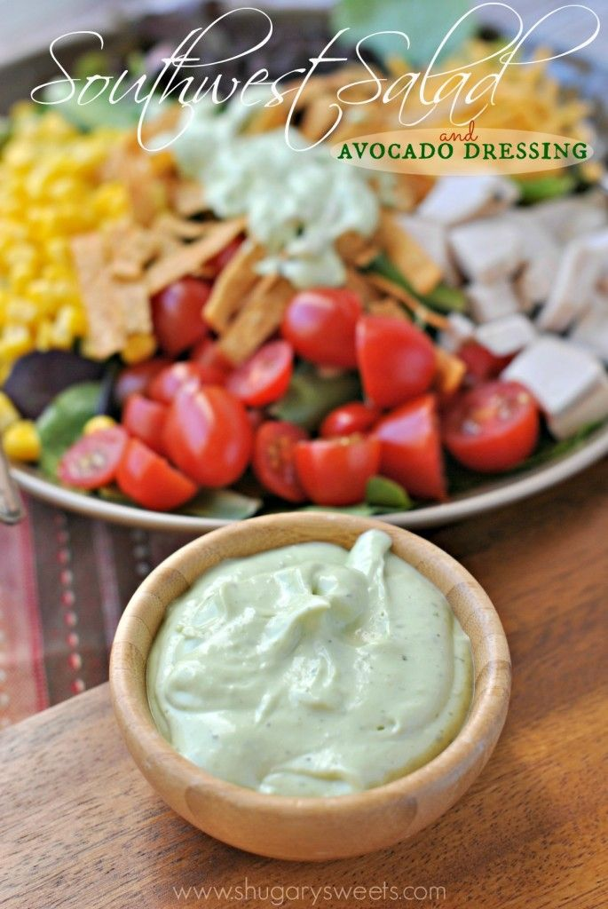 Recipe For Southwest Chicken Salad with Avocado Dressing - Salad can be dinner with this delicious Southwest Chicken Salad. The creamy Avocado dressing is the perfect topping too!
