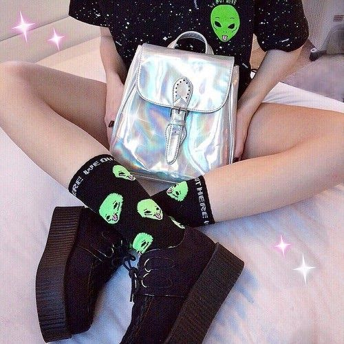 Image via We Heart It http://weheartit.com/entry/211653694/via/8753123 #aesthetic #alien #black #edit #fashion #glitter #grunge #holographic #shoes #babygirl