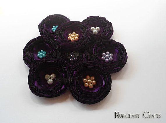 Plum Fabric Flowers Appliques Purple Satin by NurichantCrafts, $24.00