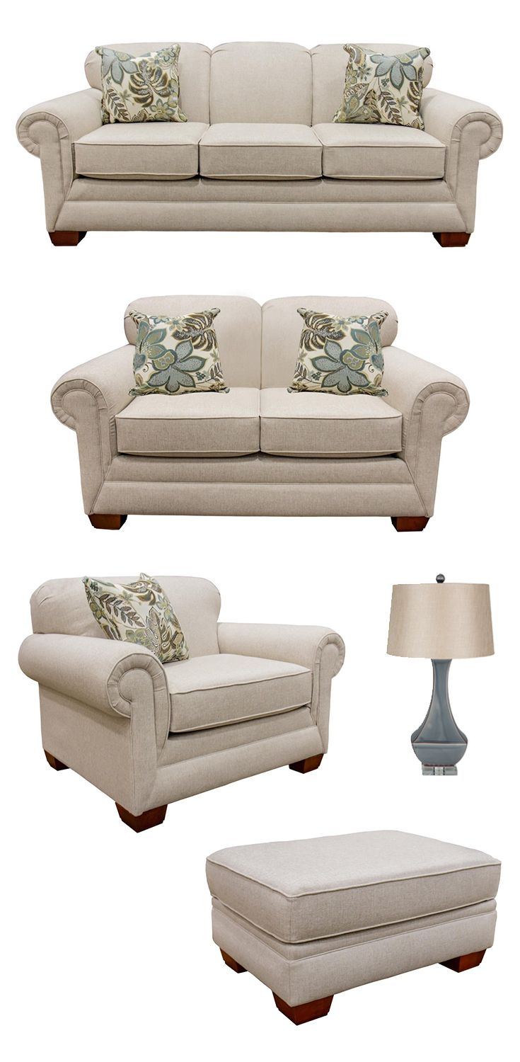 Add a handsome look to your living room or family room with this classic stationary sofa soft rolled arms block feet and deep seat cushions create a