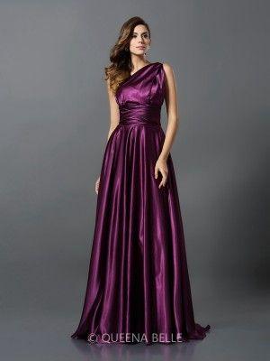 A-Line/Princess Sleeveless Pleats Silk like Satin Floor-Length Convertible Dresses - Sexy Evening Dresses - Evening Dresses - QueenaBelle 2017