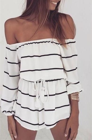 """Item Type:Romper jumpsuit Material:Chiffon Pattern:Stripe Sleeve Length:Long Sleeve Color:White Size: XS (US size) Bust: 31-33"""", Waist: 23-25"""", Hips: 33-35"""" S (US size) Bust: 33-35"""", Waist: 25-27"""", Hi"""