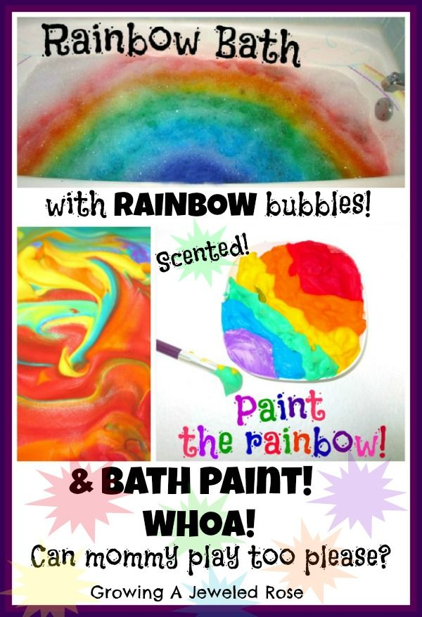 Magical rainbow bath with rainbow bubbles and Skittle SCENTED rainbow paint- SO MUCH FUN!