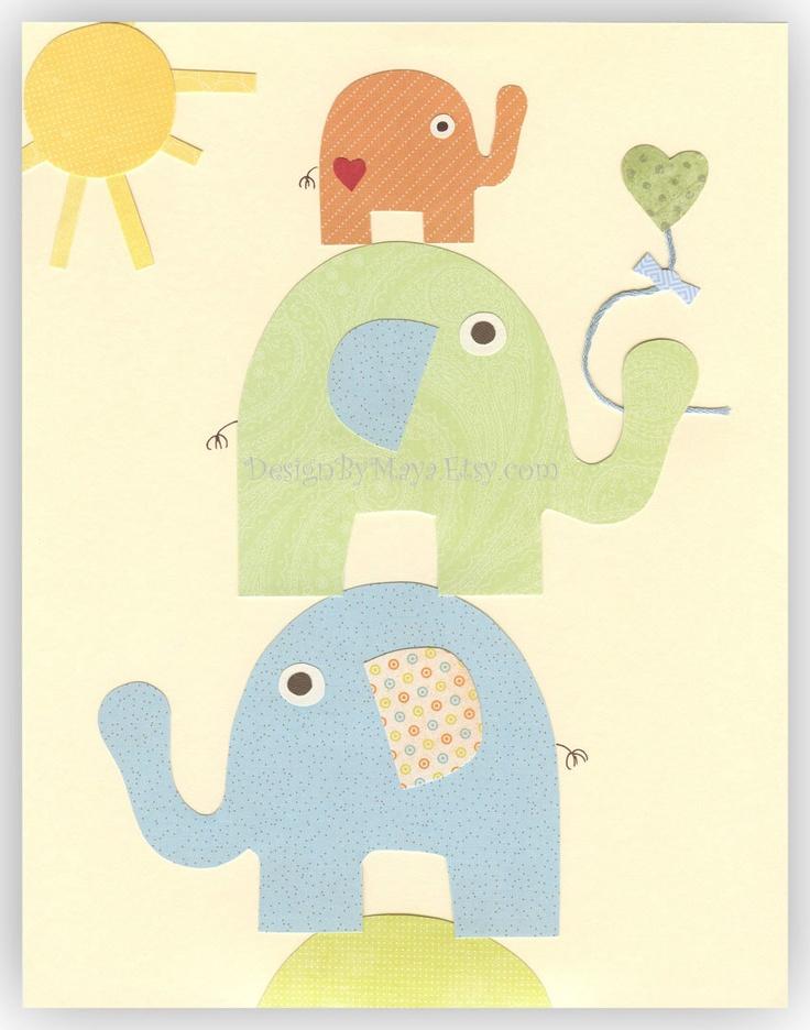 Nursery Wall Art Print bay room elephant..Trio (elephants), pastel nursery, light blue, light green, orange, yellow, baby room art. $17.00, via Etsy.