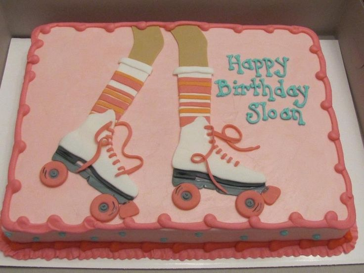 roller skating party   Roller Skating Party — Children's Birthday Cakes  Would use different colors. The salmon color isn't attractive!
