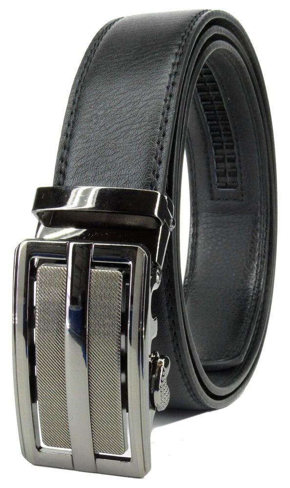 Men Automatic Ratchet Click Lock Belt Genuine Leather Design Style Buckle