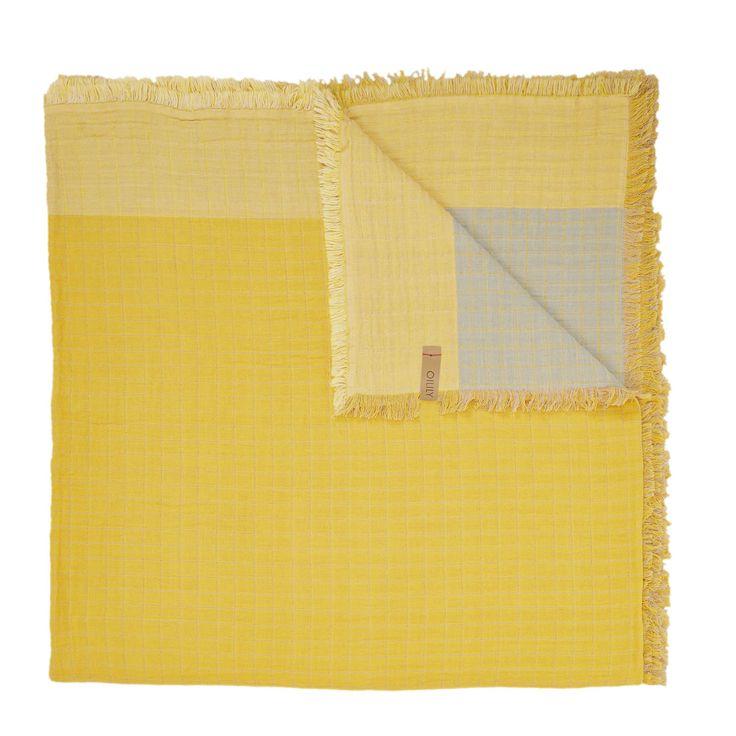 Coprilettocon fronte in puro cotone giallo e retro in cotone tortora diOilily.