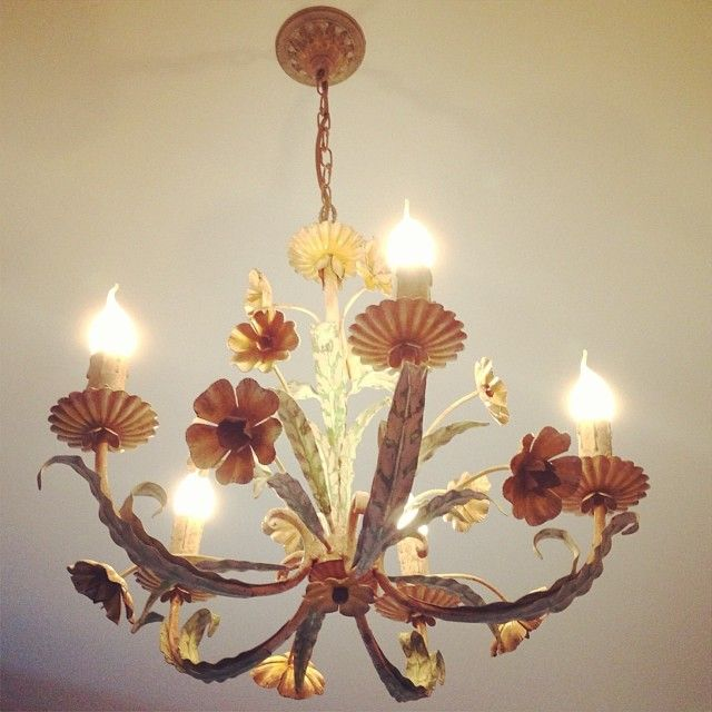 a favourite french toleware chandelier I restored is now at its new home