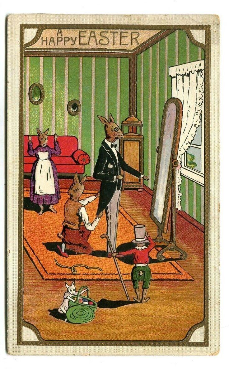 Details about vintage easter postcard rabbit in formal