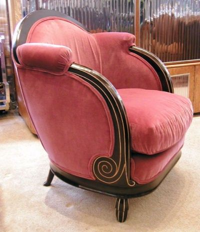 Soooooo art deco... 1930's French Mahogany Rose Velvet Chair..... I looove this chair design and the color of the velvet!!!!! sooo french country decor!!!!!