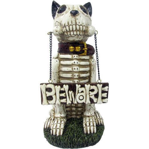 """Skeleton Dog Greeter """"Beware"""" Spooky Scary Outdoor Halloween Decoration NEW"""