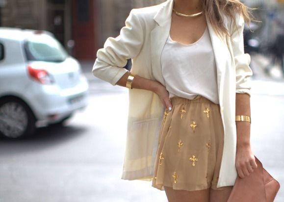 Golds, nudes, whites...love this!: White Blazers, Skirts, Color Combos, Shorts, Gold Accent, Date Outfit, Crosses, White Gold, Gold Accessories
