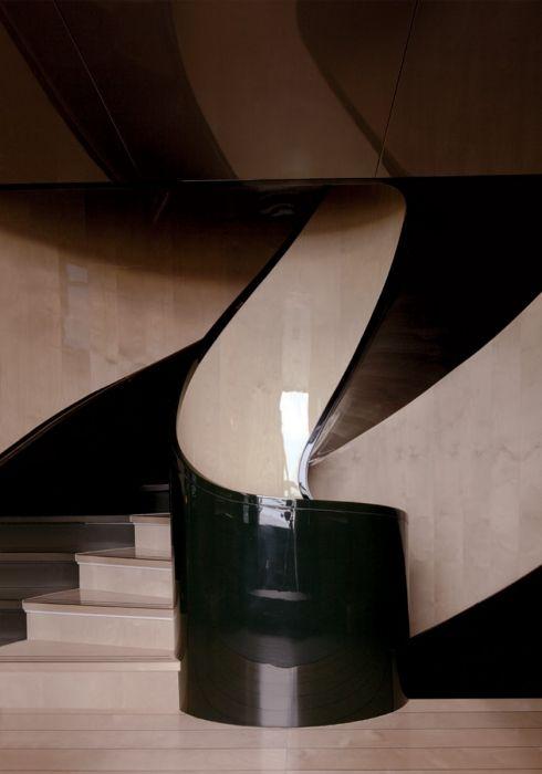 A shell-shaped staircase on fashion impresario Giorgio Armani's 213-foot yacht,Main.Photograph by Todd Eberle, November 2010.