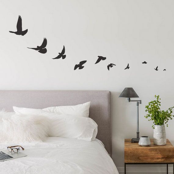 A set of 10 flying bird wall decals - Various sizes between 1 to 8 inches  [ Size ] Bird Size (approx): 1-8w x 1-8h [ Whats Included ] 10 Birds
