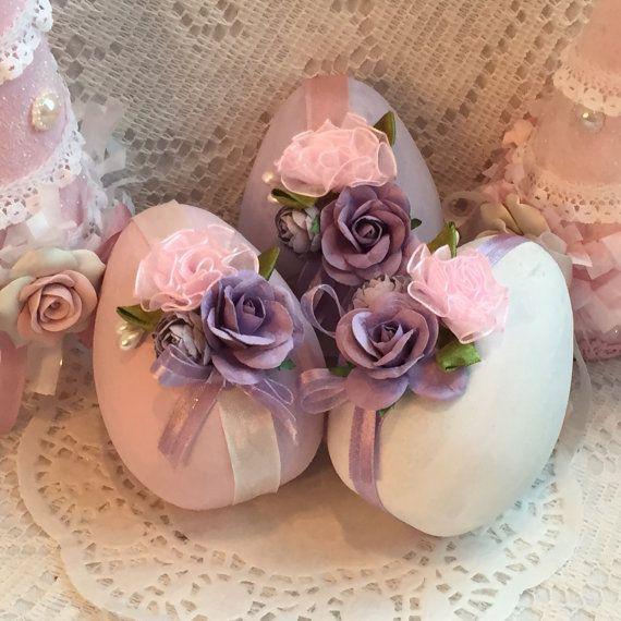 Shabby Chic 3 Paper Mâché Easter EGGS Bowl by RoseChicFriends