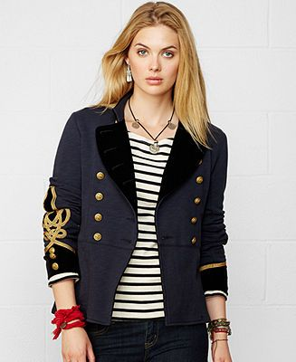 Denim Amp Supply Ralph Lauren Braided Trim Military Blazer