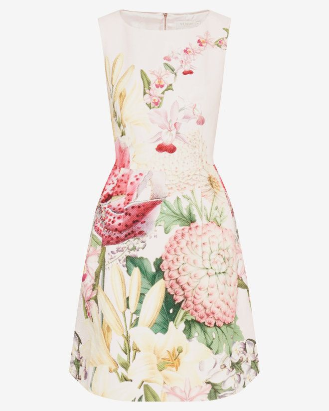 Encyclopaedia Floral pleated dress - Nude Pink | Dresses | Ted Baker