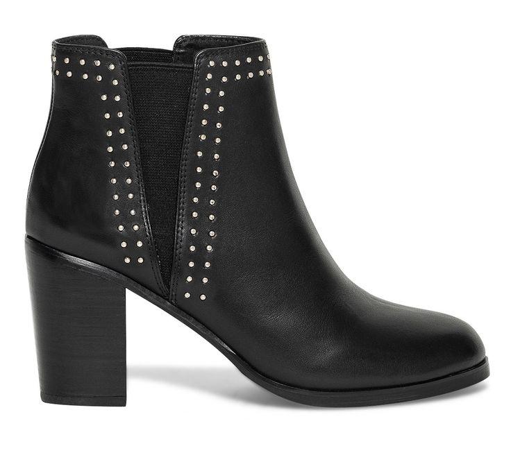 Boots « Chelsea » cuir noir détail clous argent – Eram : 99 €
