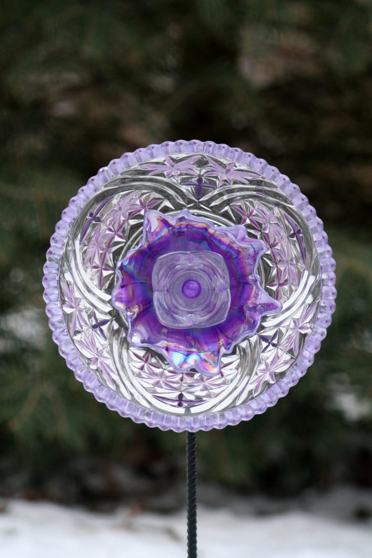 Garden Art Sun Catcher Gl Plate Flower Sculpture