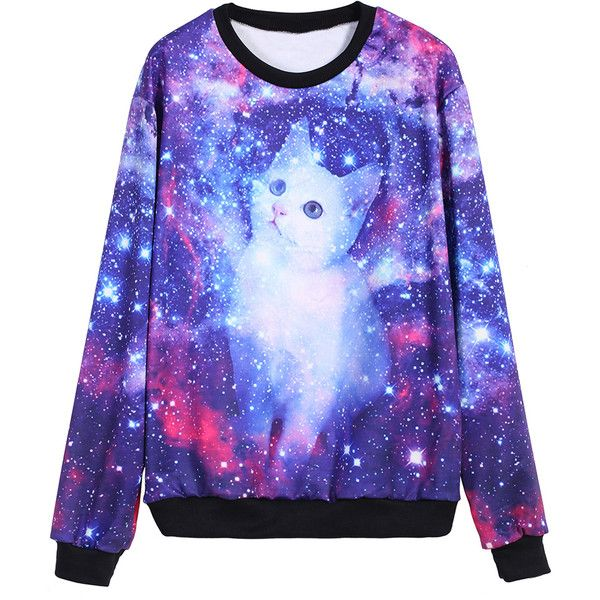 Galaxy Cat Print Sweatshirt ($13) ❤ liked on Polyvore featuring tops, hoodies, sweatshirts, shirts, sweaters, galaxy, multicolor, galaxy print shirt, multi color shirt and galaxy cat sweatshirt