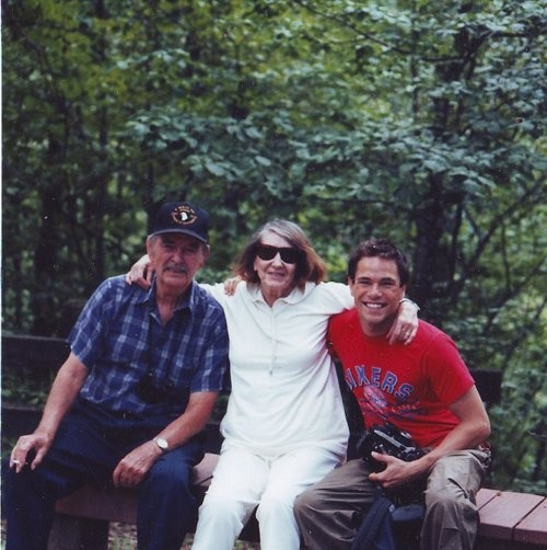 Shifty Powers and his wife, Dorothy, at their home in Virginia with Peter Youngblood Hills (who portrays Shifty in Band of Brothers)