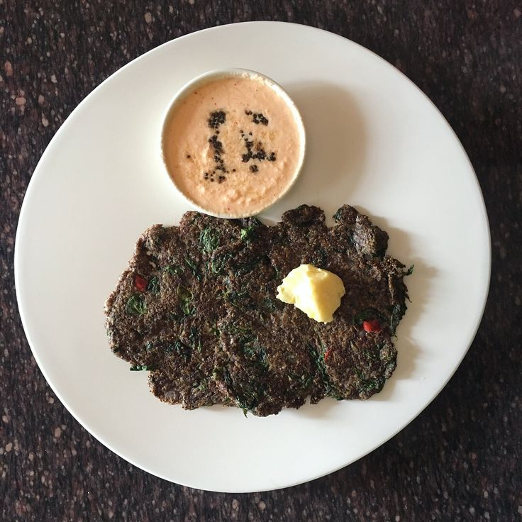 Flaxseed flour & Moringa leaves roti/ adai with coconut chutney. Finally had a yummy roti after a long time!  Flaxseed flour 1/2 c, psyllium husk 2tbs, baking soda 1/4 tsp, almond flour 2 tbs,small onion 3 numbers , moringa  leaves 1 c , chilli 1 and salt to taste . Mix all the ingredients together with little water and pan fry it with butter. Have the roti with butter and coconut chutney too😀